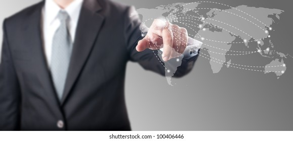 Business man touching on world map screen for social and connectivity concept