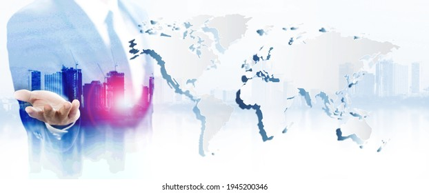 Business man touching on world map screen for social and connectivity concept,Back view of businessman in night city looking at globe with network. Global networking and international business concept