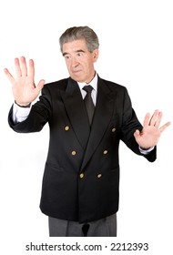 business man touching the screen with his hands over a white background