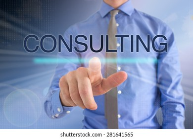 Business Man Touching Touch Screen: Consulting