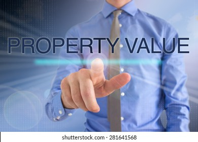 Business Man Touching Touch Screen: Property Value