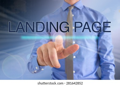 Business Man Touching Touch Screen: Landing Page