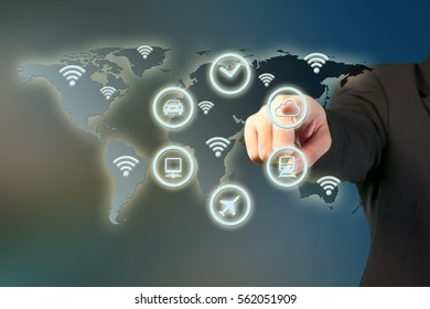 Business man touching virtual interface screen with Global network concept