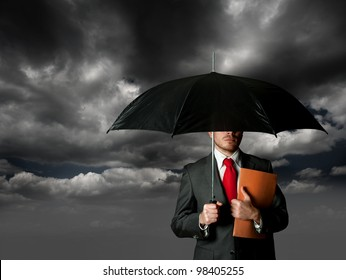 business man and umbrella