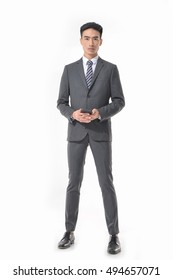 business man use mobile phone isolated on white background