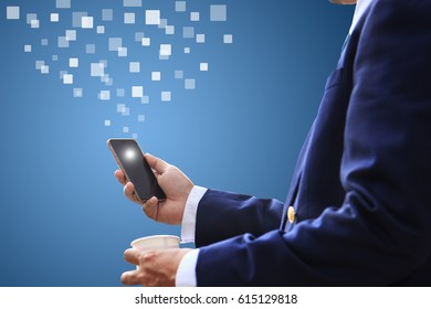 business man use mobile/smart phone.