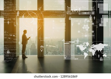 Business man use smartphone with interface of digital data, business technology conceptual