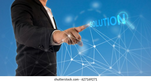 business man use tecnology for business solution, Technology concept.