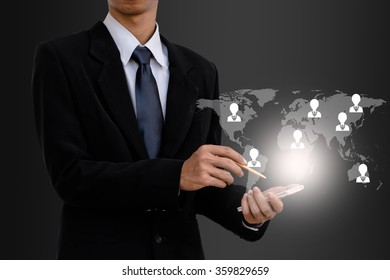 Business man user smart phone search employee.