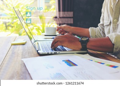 Business man using laptop computer and sign up or log in username password in home office,GDPR.cyber security and privacy concept