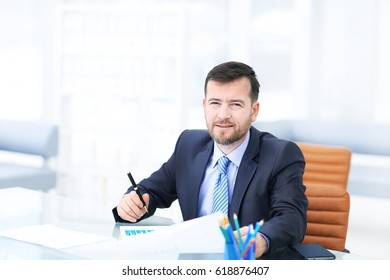 Business man using laptop and modern devices