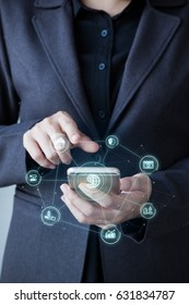 Business man using mobile payments online shopping with Mobile banking word and icon customer network connection on screen. Digital financial business concept
