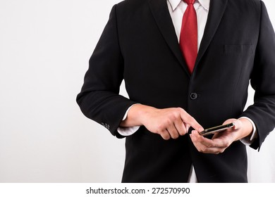 business man using mobile smart phone