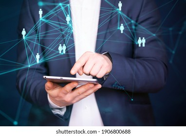 Business man using modern digital tablet. Concept of networking or social connection. Global business network.