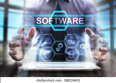 business man using modern tablet computer. software concept. business tehnology and internet concept.