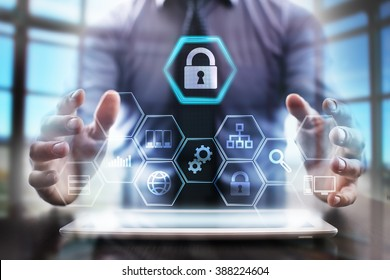 business man using modern tablet computer. cyber security concept. business tehnology and internet concept.
