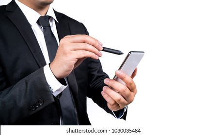 Business man using pen Draw to mobile phone to write something to work background is white backdrop, isolated.