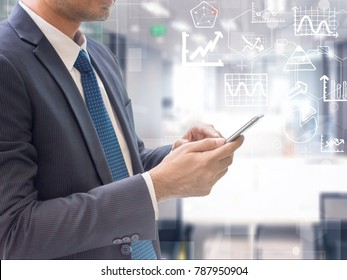 Business man using smart phone on futuristic technology connection shape over the motion interior space background