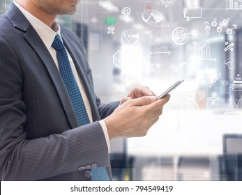 Business man using smart phone on futuristic technology connection shape over the motion interior space background.