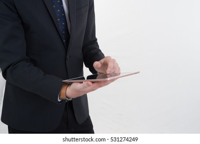 business man using tablet on white background
