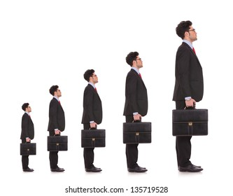 business man waiting in line for his career to evolve and to be a big boss