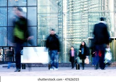 business man walk front of blank billboard