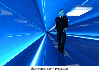 A business man walking down a airport corridor. 3D rendered Illustration.