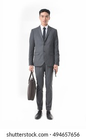 Business man Walking forward and talking on the phone and carrying a briefcase over white background