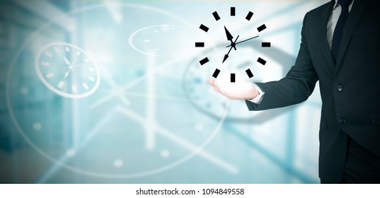 business man with watch in hand, working time concept