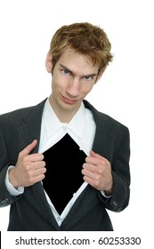 Business man wearing a classic business suit opens it up to reveal blank black copyspace