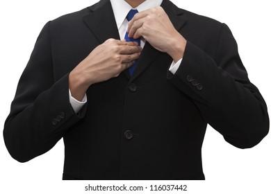 Business man wearing necktie on white.