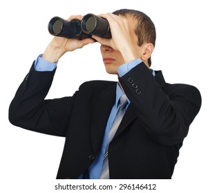 Business man wearing suit with blue tie with binoculars isolated on white background