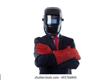 business man wearing a welding mask