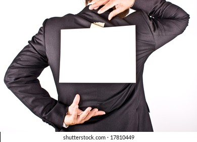 business man with a white sheet on the back on white background