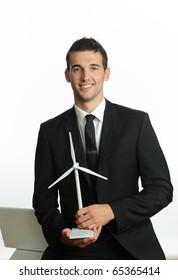 Business Man with Windturbine