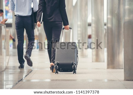 Business Man Woman Dragging Suitcase Luggage Stock Photo (Edit Now ... 09a2184bc8782