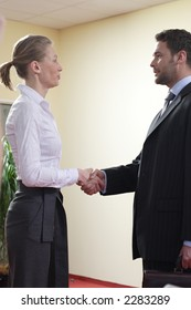 business man and woman handshake