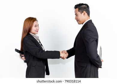 Business man and business woman are Not sincere to do business.