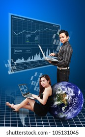 Business man and woman present the stock graph report : Elements of this image furnished by NASA