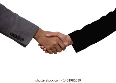 Business man and business woman are shaking hand isolated on white background with clipping path.