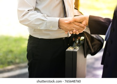 Business man and woman shaking hand after successful meeting with nature background