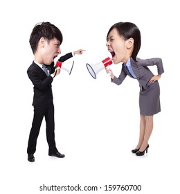 business Man and woman shouting to each other through megaphone isolated on white background, asian big head people
