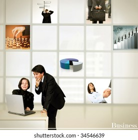 Business man and woman thinking of a corporate strategy