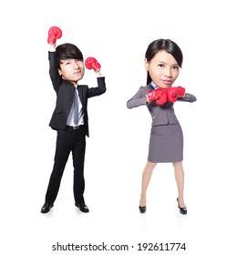 Business man and woman win pose with boxing gloves in full length isolated on white background, asian, big head