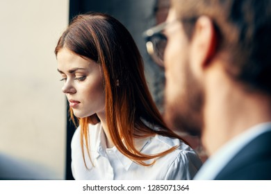 business man and woman at work communicate with each other