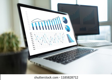 business man work chart schedule or planning financial report data