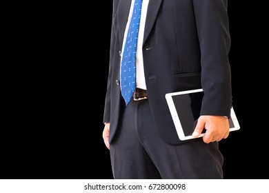 Business man  working at office with tablet,The manager  working with tablet on his plan ,using Business technology