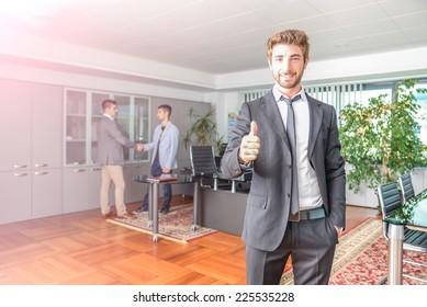 Business man working on computer desk