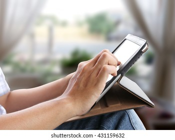 business man working and touch tablet to search on internet