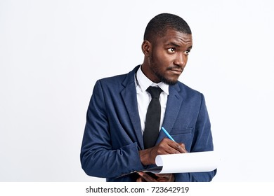 business man  works signs a contract on a light background